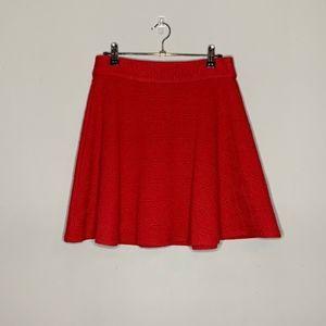 Alya l Red Pattern Skater Skirt